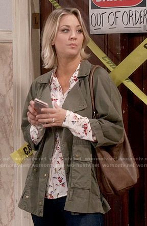 Penny's white floral shirt and green army jacket on The Big Bang Theory.  Outfit Details: https://wornontv.net/56023/ #TheBigBangTheory