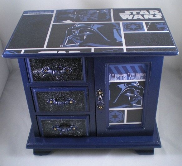 This is a jewelry box, but I am thinking I could do something similar with a dresser for Paytons star wars room!