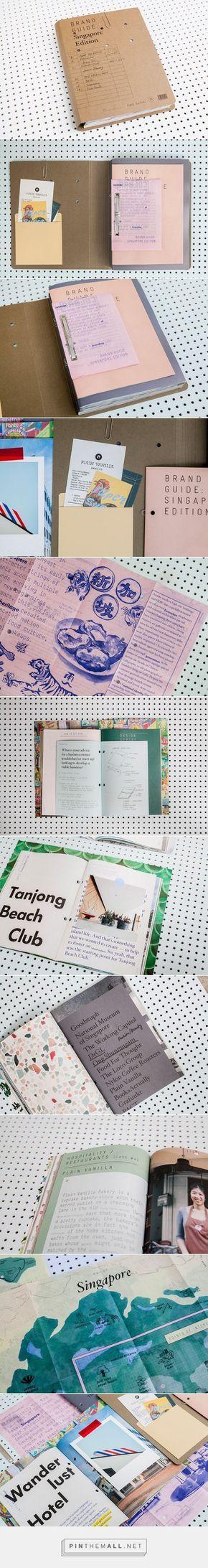 """Cadernos divididos em pequenas """"revistas"""" (podem ser as partes) e agrupamos assim. Entregar com fotos de arquivo e tiradas para o livro (como polaroides). Pode ter um cd com algum material tb. --- Brand Guide: Singapore Edition by FOREIGN POLICY DESIGN GROUP - created via"""