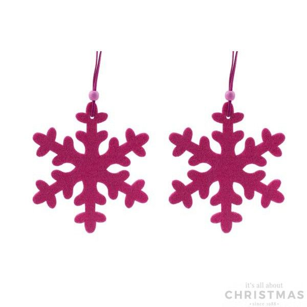 Set of 2 felt Christmas ornaments, in the shape of a snowflake. These ornaments are 12cm, fuchsia.