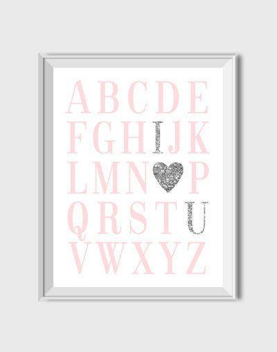 Buy 1 Get 1 Free ABC Print Digital Nursery Printable Wall Art Alphabet Print Pink And Silver Nursery Decor Baby Girl Nursery Pink Poster