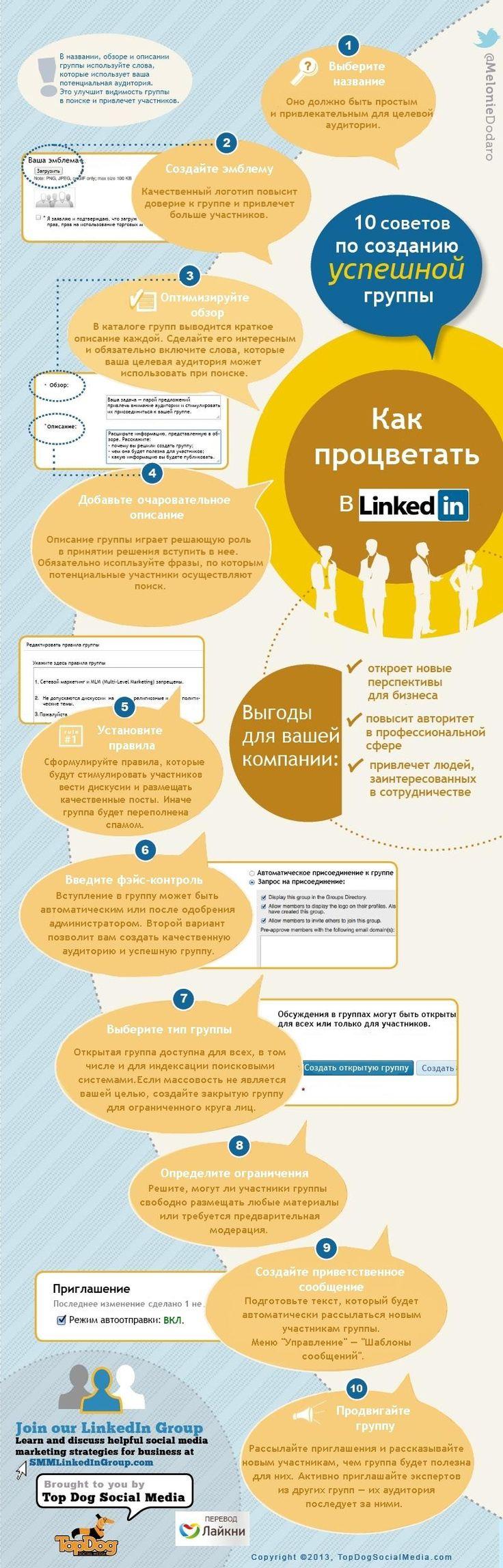 Инфографика от TopDogSocialMedia расскажет, как новичку в социальной сети профессионалов всего за 10 простых шагов создать собственную успешную группу.
