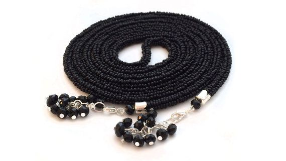 Black lariat. Long crochet beaded rope. Beaded lariat. от Amikkaru