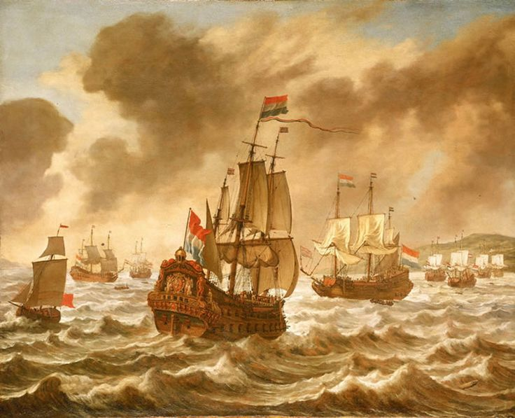 Before the Battle of the Downs, 21 October 1639, Showing Tromp's Flagship 'Amelia'.