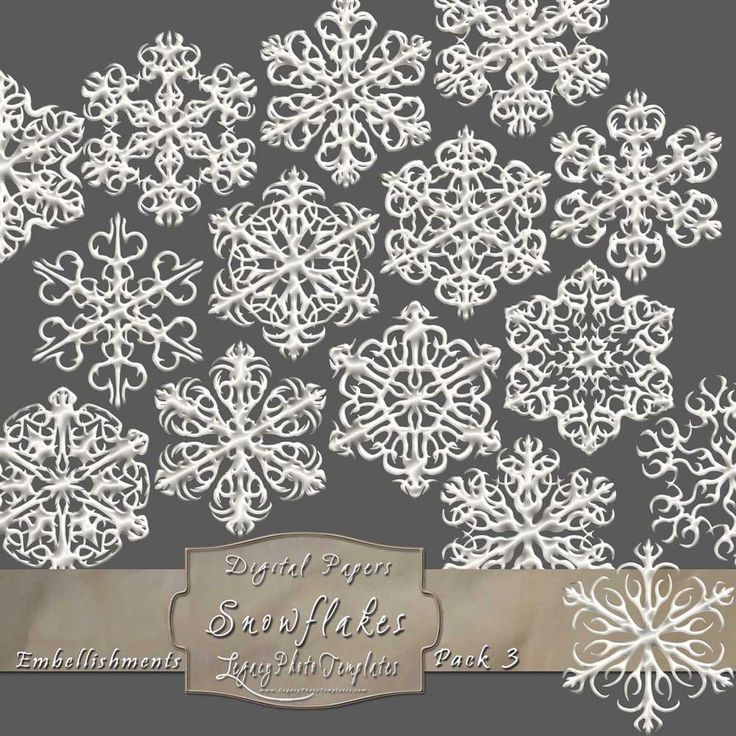 15 Frosty Snowflake Overlays - Pack 3  $4.75 #snowflakes, #white, #frosty, #winter, #embellishment, #scrapbooking