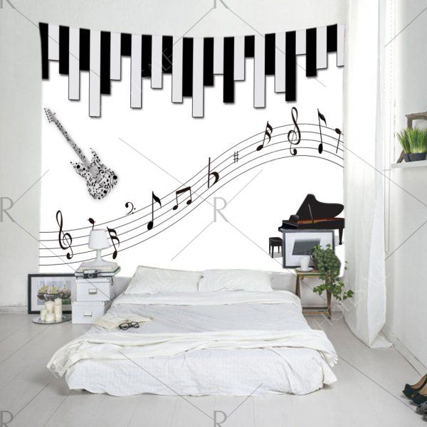 Musical Instrument Print Tapestry Wall Hanging Decoration Black White W59 Inch L51 Inch Mobile Music Bedroom Decor Music Themed Bedroom Music Bedroom