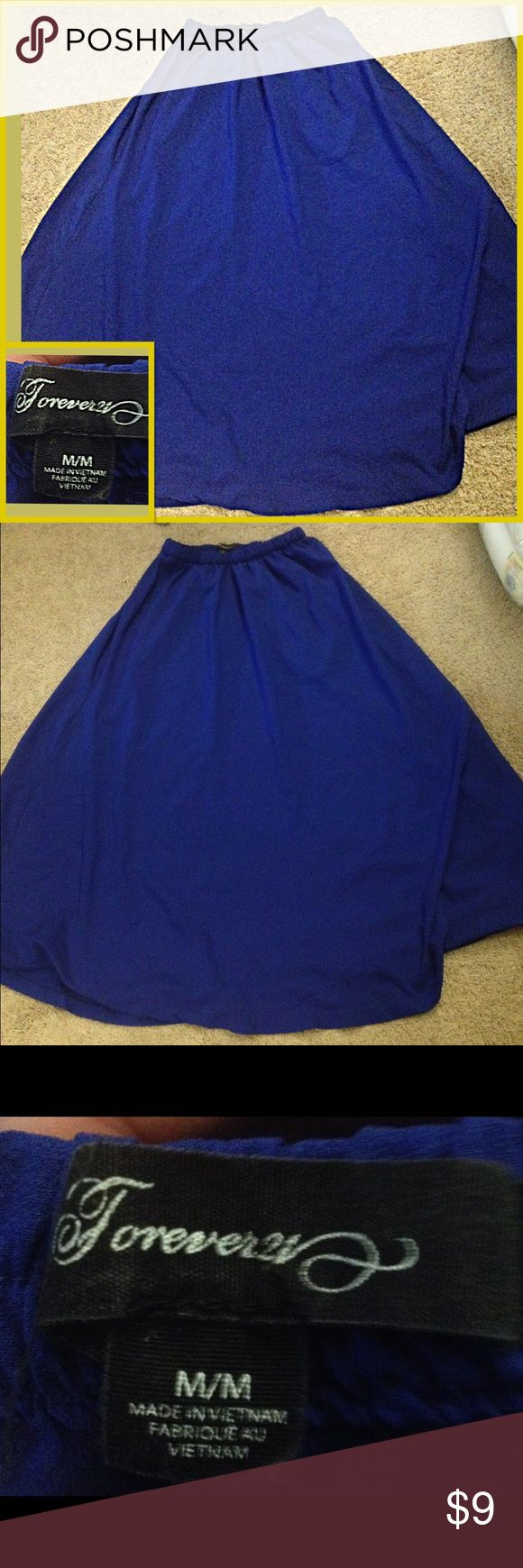 Forever21 Blue maxi skirt Maxi Skirt Brand is Forever 21 size is medium. shell 100% polyester. Flow look and lightweight. Elastic waist band Forever 21 Skirts Maxi