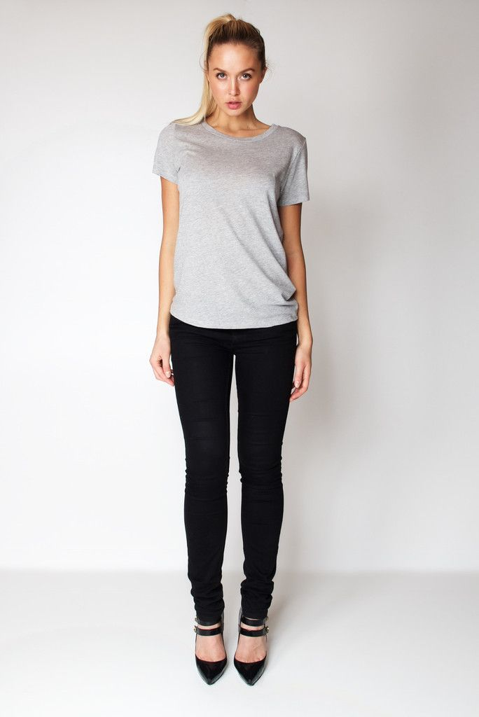 T-Shirt U Neck / Heather Grey