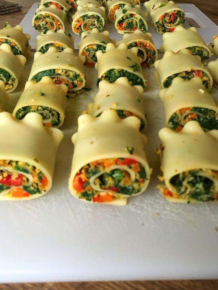 Jain Tadka: Mini Spinach Corn Roll Ups Lasagna