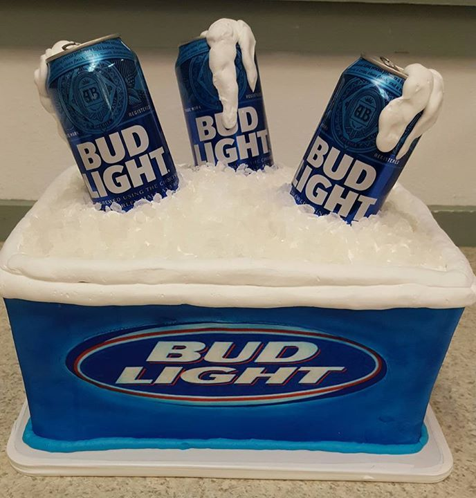 Astonishing Shaped Bud Light Beer Cans Cooler Grooms Cake With Images Beer Personalised Birthday Cards Cominlily Jamesorg