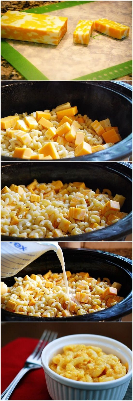 Crockpot Mac & Cheese .. i wonder if this will actually taste good.. if you put cooked mac in the crockpot and let it cook on low for 4 hrs w/ cheese cubes and milk, i would think the noodles would become overcooked.. but i am going to try it because my kids love mac n cheese!