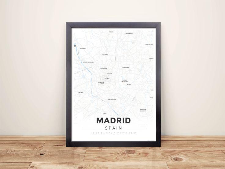 Framed Map Poster of Madrid Spain - Modern Ski Map - Madrid Map Art