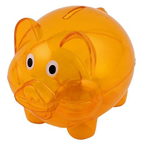 Piggy Bank - TOOGOO(R) Plastic Piggy Bank Coin Money Cash Saver Savings Safe Box Clear Orange