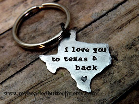Texas-keychain-ornament-handstamped-personalized-i love you to texas and back on Etsy, $12.00