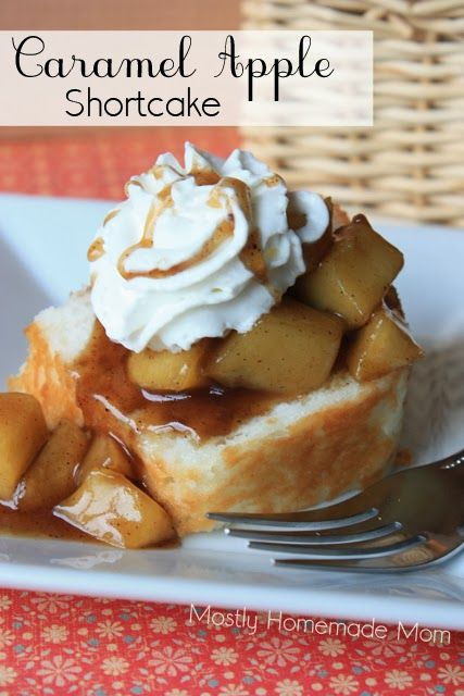 Skillet caramel apples served on top of angel food cake and topped with whipped cream and a caramel drizzle!