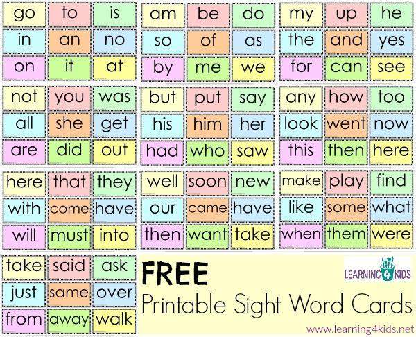 Free Printable Sight Word Cards | CrazyCharizma teaching ...