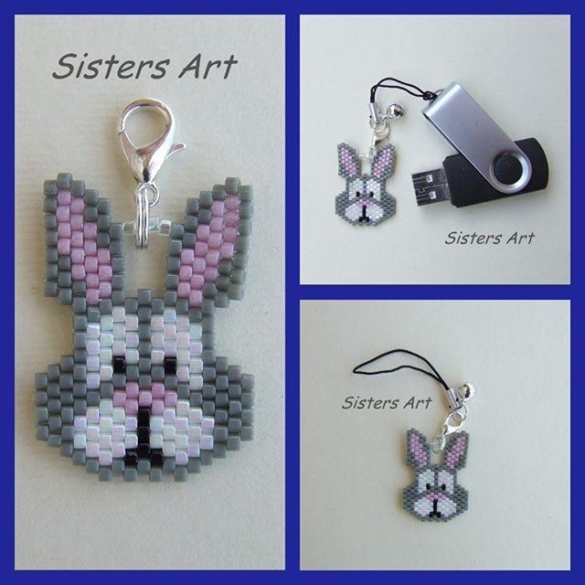 """Ciondolo """"Coniglietto"""" per USB realizzato con perline delica, by Sisters Art, in vendita  su http://www.misshobby.com/it/negozi/sisters-art"""