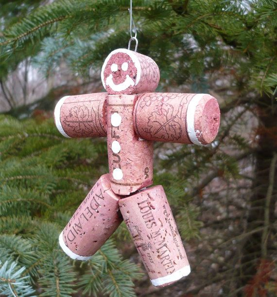 gingerbread man ornament made with corks.