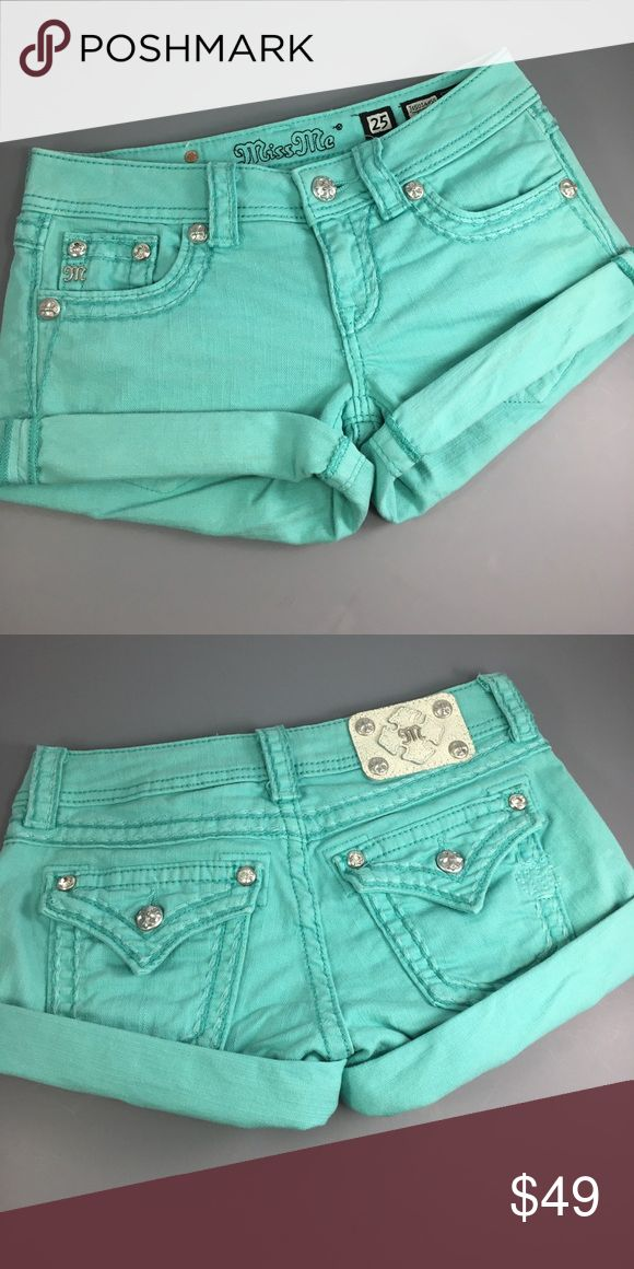 """⭐️Miss Me JS5014H55 turquoise shirt size 25 ⭐️Miss Me JS5014H55 turquoise short in size 25 inseam 4 1/2"""" (unrolled) and rise 6 1/2"""". Leg width opening is 10"""" across. Measurements are approximate. Super Cute pair of Miss Me shorts in a vibrant turquoise color with bling anchoring rear pockets! Miss Me Shorts Jean Shorts"""