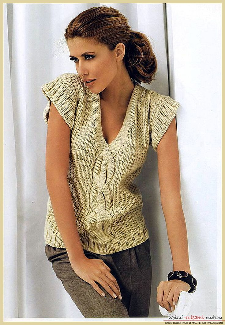 Вязание женского жилета спицами. Схема и фото жилета для женщин своими руками для начинающих вязальщиц. Фото №1