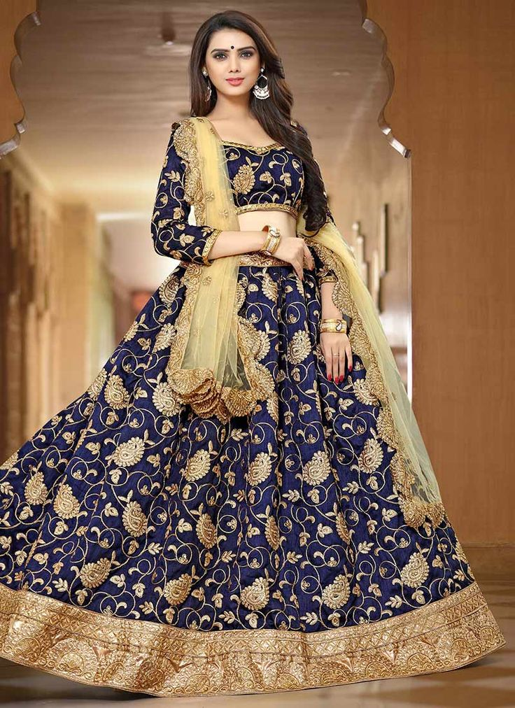 Buy Navy Blue Art Silk A Line Lehenga online, SKU Code: GHSTF2840. This Blue color Wedding a line lehenga for Women comes with Zari  Art Silk. Shop Now!