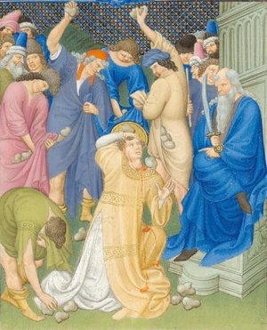 Suffrages of the Saints  Martyrdom of Saint Stephen, Folio 162r - Belles Heures of Jean de France, duc de Berry, 1405–1408/9. Herman, Paul, and Jean de Limbourg (Franco-Netherlandish, active in France by 1399–1416). French; Made in Paris. Ink, tempera, and gold leaf on vellum; 9 3/8 x 6 5/8 in. (23.8 x 16.8 cm). The Metropolitan Museum of Art, New York, The Cloisters Collection, 1954 (54.1.1)