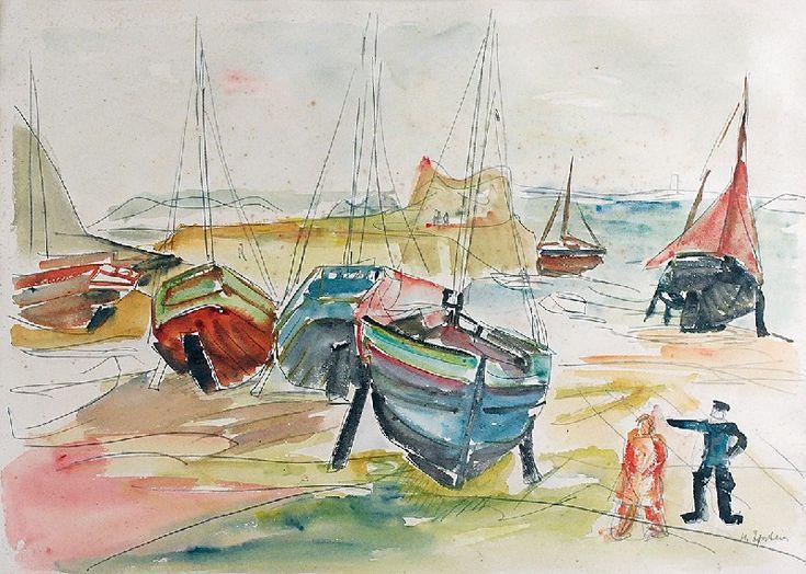 Henryk EPSTEIN (1890-1944)  Łodzie rybackie nad brzegiem morza ołówek, akwarela, papier; 42,5 x 59 cm (w świetle oprawy);