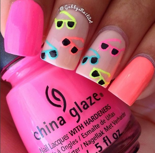 Summer Fun! Sunglasses nails nailart by Gabbys Nails