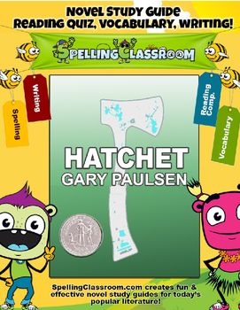 Hatchet by Gary Paulsen Novel Study (99 pages!).  This novel study is intended to give you everything you would need to make Hatchet a successful classroom read. The guide is broken up into 2 parts (1st half & 2nd half of the book). The guide includes Ready-to-Use Printables for lessons, activities, handwriting worksheets, games and quizzes.Hatchet is a recipient of the Newbery Honor award.What's Included:  READING COMPREHENSION:       Two Book Quiz (multiple choice questions)  WORD LIST...