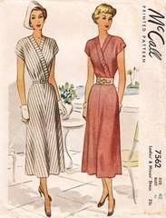 40's McCall 7562 New Look Era Surplice Bodice Dress Pattern B42