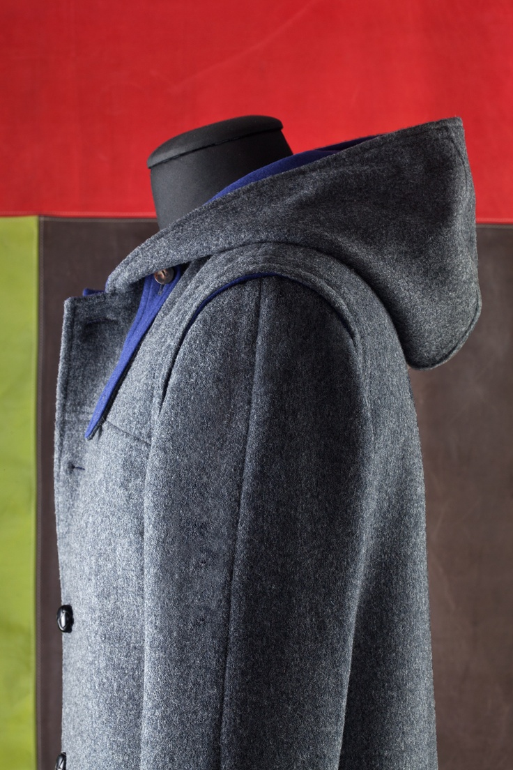 Loden Coat with Hood: style UC4bis Double in contrasting color, lined
