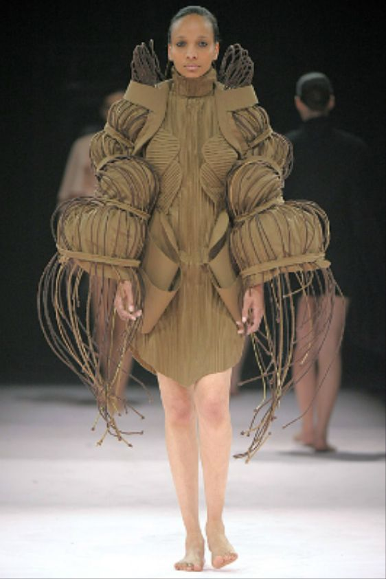 Fashion imitating nature - sculptural dress form with interesting three-dimensional structure; wearable sculpture