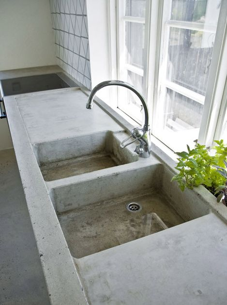 Poured concrete counter & sink - this is for my next kitchen @susanserrackd - put it on the list!