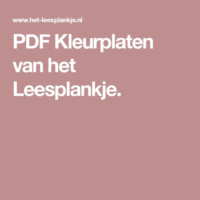 PDF Kleurplaten van het Leesplankje.