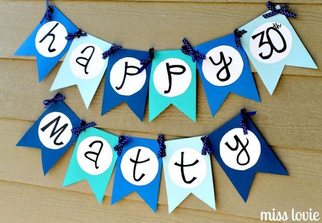 Miss Lovie: Happy Birthday Banner Tutorial and Free Printable Template #DIY