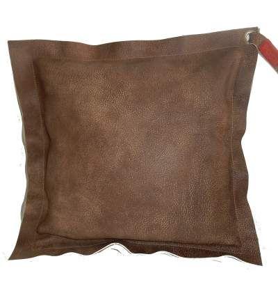 Bruin lederen woonkussen 'groot'.  Bruin leer aan beide zijden. Handgemaakt exclusief design