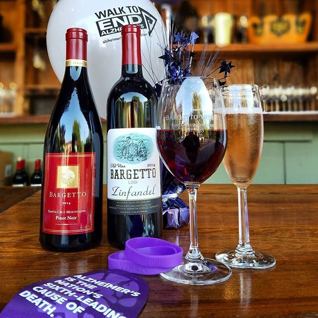 BARGETTO WINERY is excited to pair up with the Walk to End Alzheimer's – Santa Cruz for the 6thyear in a row! Thank you to everyone who could attend tonight's fundraiser!  The 2017 Walk to End Alzheimer's - Santa Cruz will be held September 23rd at Seascape Resort and Park; For more info and/or to support this great cause, please call Nancy Thompson (408) 372-9948 . . #santacruzmountains #scmwine #visitsantacruz #montereybay #walktoendalzheimers #seascape #fundraiser #bargettowinery…