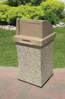 30 gallon concave concrete push door top outdoor waste container tf1044