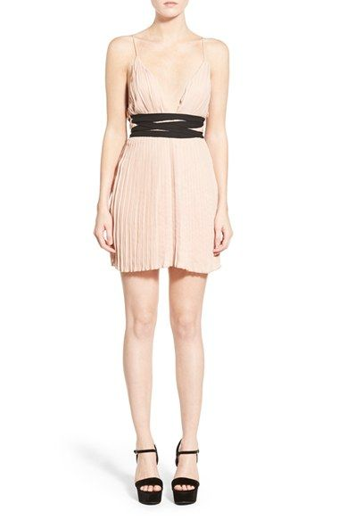 Missguided Pleated V-Neck Skater Dress available at #Nordstrom