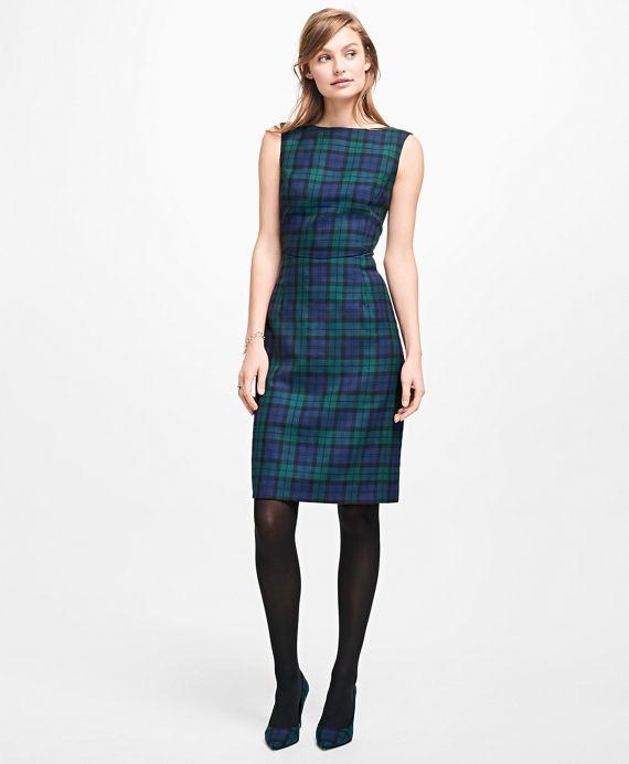 Sleeveless Wool Black Watch DressGreen-Navy