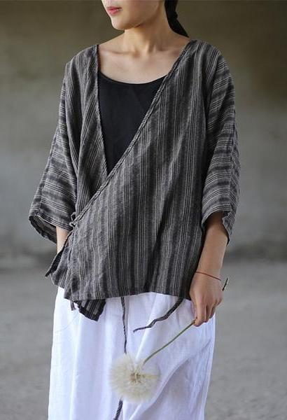 32f2d0dc8c16dc Johnature Women Bandage Shirts Striped Tops 2018 Summer New V-Neck Seven  Sleeve Cotton Linen Blouses Women Casual Vintage Shirts-JetSet-JetSet