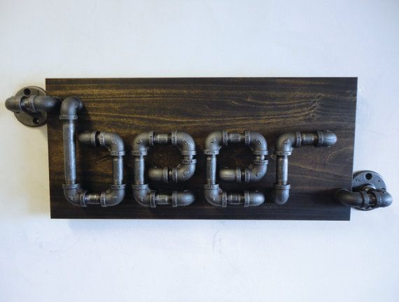 Industrial Black Pipe Beer Sign The Rampant by Mobeedesigns