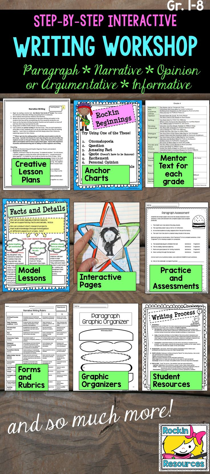 This NO PREP detailed writing program will guide you through a year of writing lessons. It is a COMPLETE writing workshop with step-by-step mini lessons. Every lesson builds upon the previous skill within one piece of writing, which give students a thorough understanding of how to put a piece of writing together. There are separate bundles aligned for each Grade 1-8 and includes a Mentor Text Booklet with ALL grade levels. The lesson plans are filled with directions, special tips and…