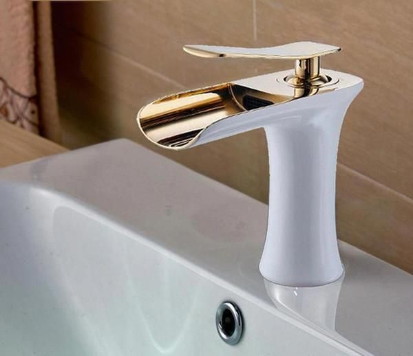 Waterfall Spout Bathroom Faucet Deck Mounted Basin Single Handle/& Hole Mixer Tap