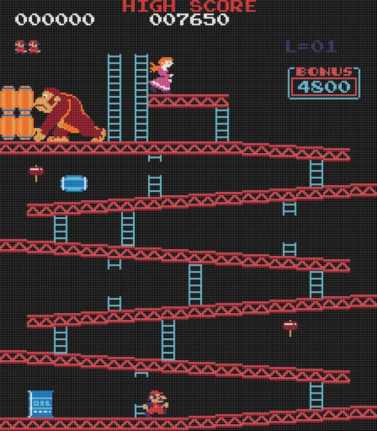 donkey kong cross stitch pattern