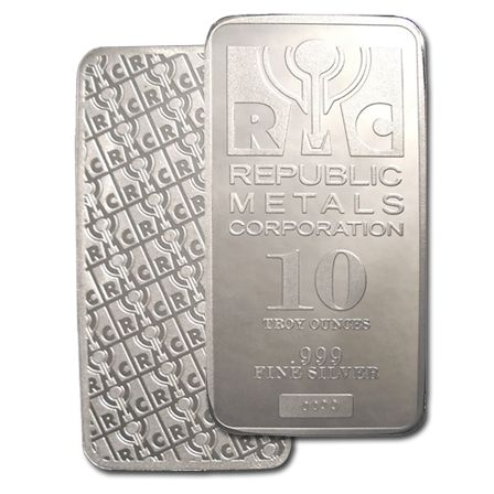 We are the exclusive dealer of RMC Metals in Canada.  10 oz. RMC 999 Pure Silver Bullion Bars for Sale.