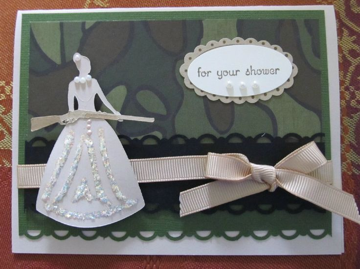 Camouflage Cricut Wedding card - This is a not your traditional wedding shower card, but the bride and groom hunt.  Great redneck card!
