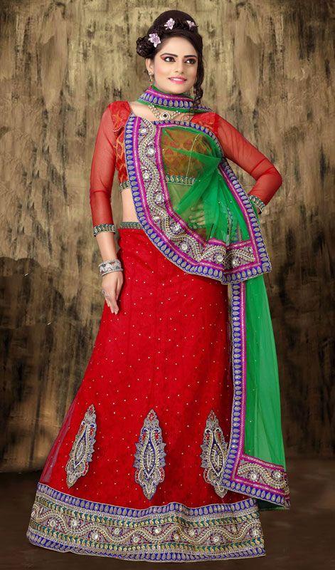 Red Net Lehenga Choli with Motis Work Price: Usa Dollar $141, British UK Pound £83, Euro104, Canada CA$153 , Indian Rs7614.