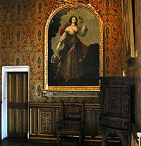 Portrait of Diane de Poitiers as Diana goddess of the hunt on display in the bedroom of Francis I at the Château de Chenonceau.