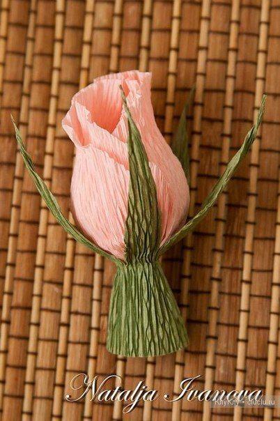 Бутон розы из гофробумаги с конфетой.. МК Натальи Ивановой - Цветы из ткани и бумаги